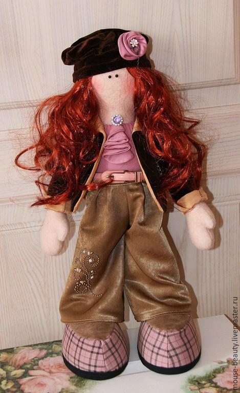 Куклы тыквоголовки ручной работы. Ярмарка Мастеров - ручная работа. Купить кукла Модница. Handmade. Золотой, текстиль для интерьера