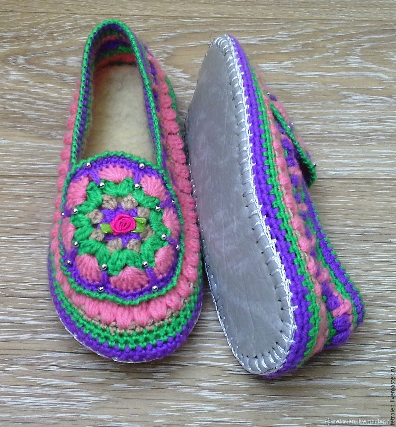 a818a6be4ce2d8 Online Handmade Shoes handmade. Order Slippers knitted Summer leather sole.  Knitted stuff from Svetlana.