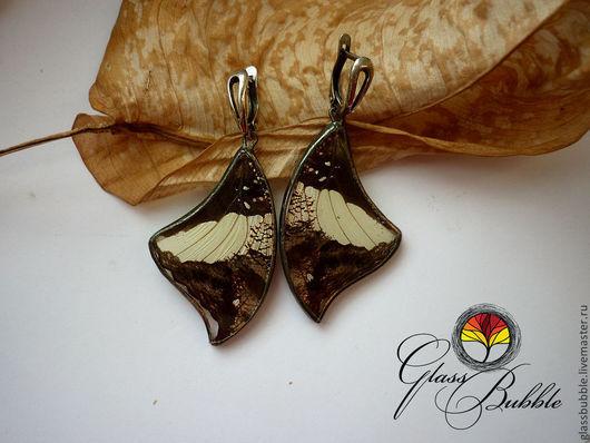 Серьги ручной работы. Ярмарка Мастеров - ручная работа. Купить Серьги с крыльями настоящей тропической бабочки. Handmade. Бабочка, крылья