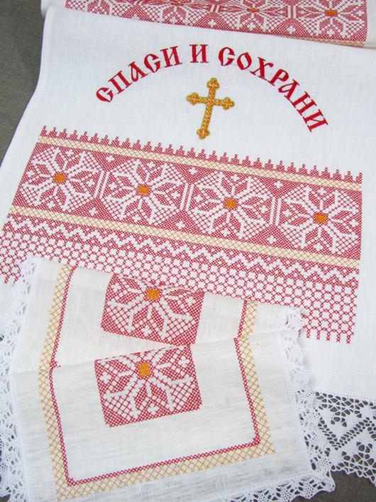 Набор для венчания Венчальный рушник:  45 x 200 см. Салфетка (2 шт.): 26 x 26 см.
