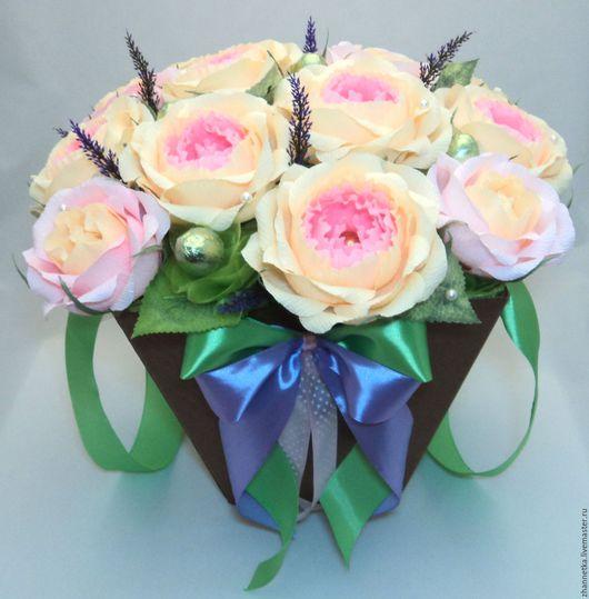 """Букеты ручной работы. Ярмарка Мастеров - ручная работа. Купить Коробка с конфетами """"Розы"""".. Handmade. Розовый, подарок на 8 марта"""