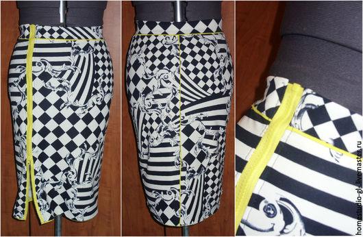 """Юбки ручной работы. Ярмарка Мастеров - ручная работа. Купить Юбка карандаш с молнией """"Геометрия"""". Handmade. Чёрно-белый, юбка"""