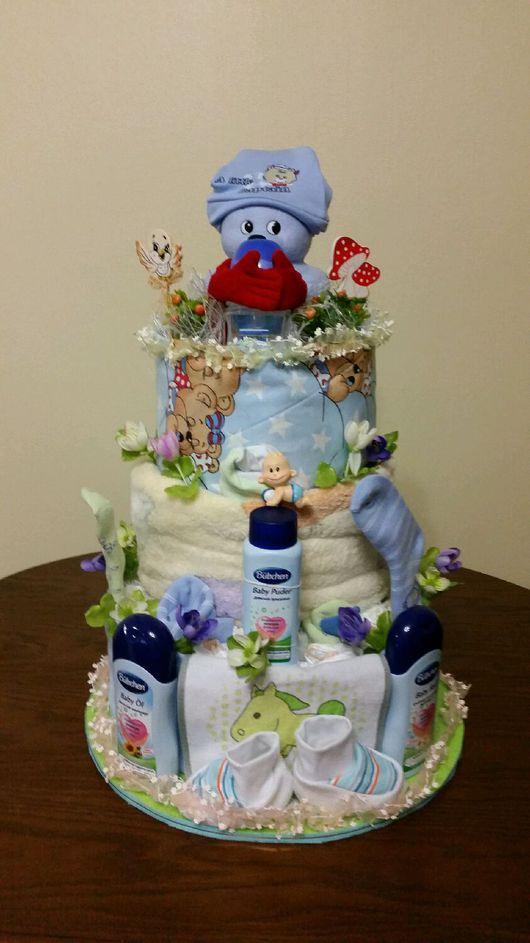 Подарки для новорожденных, ручной работы. Ярмарка Мастеров - ручная работа. Купить Торт из памперсов. Handmade. Торт из памперсов, для детей
