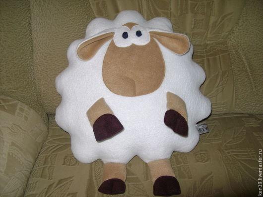 Текстиль, ковры ручной работы. Ярмарка Мастеров - ручная работа. Купить Подушка - игрушка ОВЕЧКА (2 дизайна). Handmade. Белый