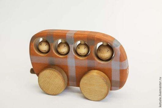 Техника ручной работы. Ярмарка Мастеров - ручная работа. Купить Автобус в клетку - деревянная игрушка. Handmade. Оранжевый, игрушка развивающая