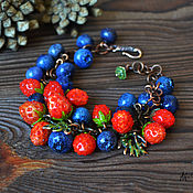"""Украшения ручной работы. Ярмарка Мастеров - ручная работа Браслет лэмпворк """"Wild strawberry"""". Handmade."""