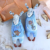 Куклы и игрушки handmade. Livemaster - original item Two Rabbits. Textile toys.. Handmade.