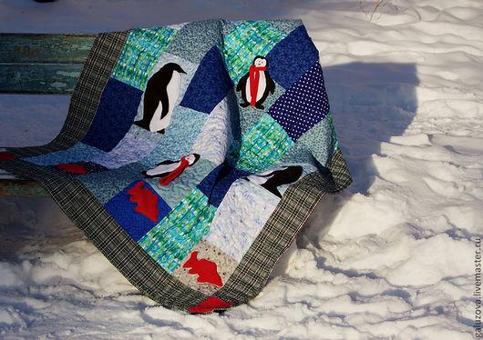 """Текстиль, ковры ручной работы. Ярмарка Мастеров - ручная работа. Купить Лоскутное покрывало  """"Пик, Пак, Пок"""". Handmade. Синий"""
