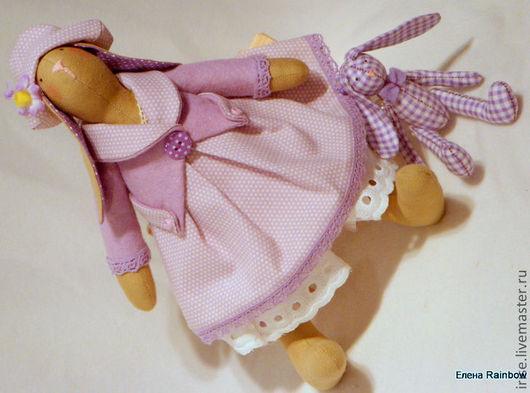 Куклы Тильды ручной работы. Ярмарка Мастеров - ручная работа. Купить Зайка Виолетта с игрушкой. Handmade. Сиреневый, заяц игрушка