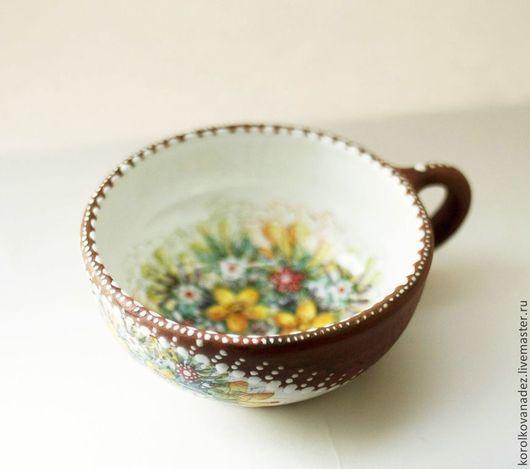 Кружки и чашки ручной работы. Ярмарка Мастеров - ручная работа. Купить Керамическая кружка Цветы  (майолика). Handmade. Керамика