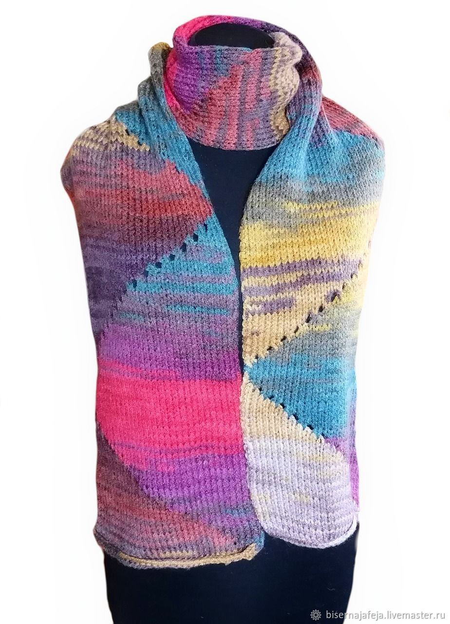 Knitted multicolored Scarf, Scarves, Astrakhan,  Фото №1