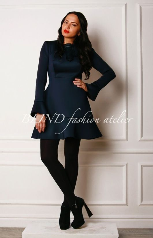 Платья ручной работы. Ярмарка Мастеров - ручная работа. Купить Платье из трикотажа плотного плетения 00160. Handmade. Тёмно-синий