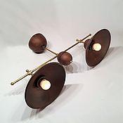 Для дома и интерьера ручной работы. Ярмарка Мастеров - ручная работа Керамический светильник с двумя плафонами и латунным каркасом. Handmade.