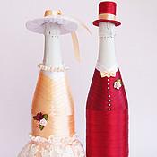 """Свадебный салон ручной работы. Ярмарка Мастеров - ручная работа Украшение свадебных бутылок """"Моменты любви"""" съемное. Handmade."""