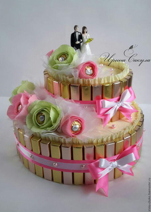 Подарки на свадьбу ручной работы. Ярмарка Мастеров - ручная работа. Купить Подарок на свадьбу Торт из конфет. Handmade. Торт из конфет