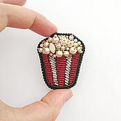 Украшения handmade. Livemaster - original item Brooch Popcorn, embroidered brooch in the shape of popcorn. Handmade.