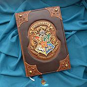 "Канцелярские товары handmade. Livemaster - original item Leather notebook ""HOGWARTS"". Handmade."