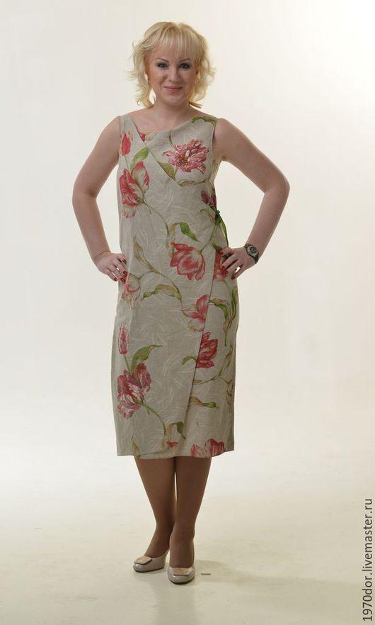 """Платья ручной работы. Ярмарка Мастеров - ручная работа. Купить Платье из льна """"Тюльпаны"""". Handmade. Комбинированный, льняная одежда"""