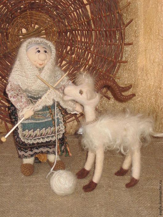 Композиция Бабушка и козочка. По желанию вы можете приобрести отдельно куклу Бабушку - 2500 руб. или отдельно козочку - 2000 руб.