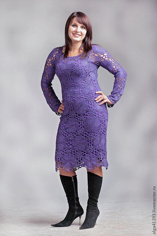 """Платья ручной работы. Ярмарка Мастеров - ручная работа. Купить Платье """" Lanosso"""". Handmade. Фиолетовый, вязанное платье"""