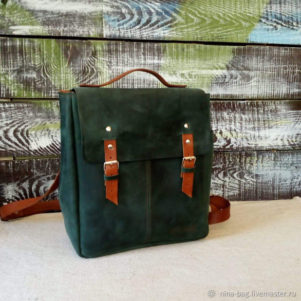 backpack leather green