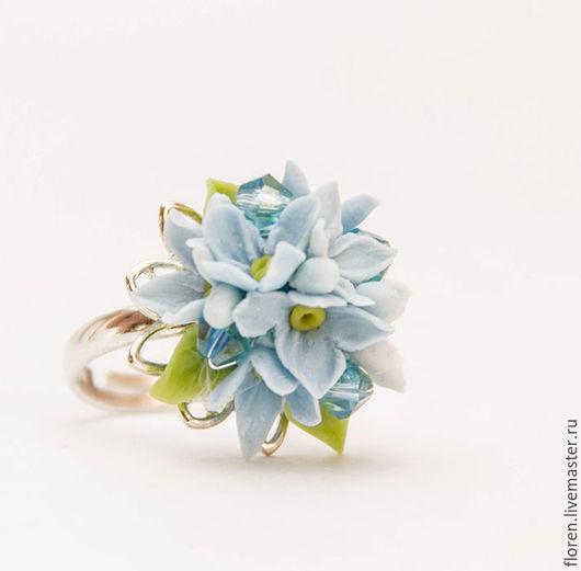"""Кольца ручной работы. Ярмарка Мастеров - ручная работа. Купить Кольцо """"Нежность"""". Handmade. Голубой, голубые цветы, летние украшения"""