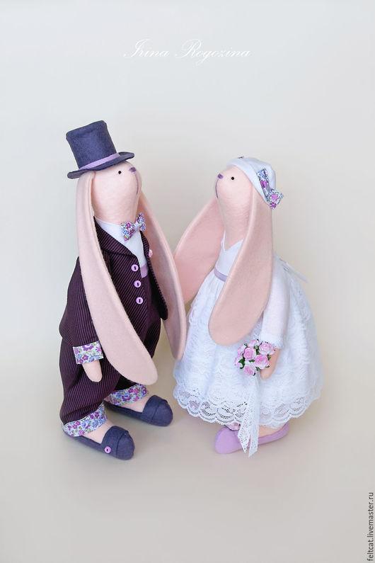 """Подарки на свадьбу ручной работы. Ярмарка Мастеров - ручная работа. Купить """"Сливовый пломбир"""" свадебные зайцы в подарок на свадьбу. Handmade."""