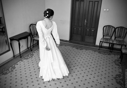 Одежда и аксессуары ручной работы. Ярмарка Мастеров - ручная работа. Купить Свадебное платье из хлопка. Handmade. Белый