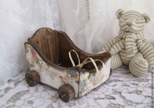 Детская ручной работы. Ярмарка Мастеров - ручная работа. Купить Маленькая тележка. Handmade. Декупаж, детская, деревянная игрушка, прованс