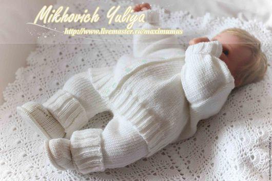 Одежда для мальчиков, ручной работы. Ярмарка Мастеров - ручная работа. Купить Костюм для новорожденного (вязаная кофточка,штанишки,пинетки). Handmade.