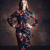 Одежда ручной работы. Ярмарка Мастеров - ручная работа Платье футляр с цветочным принтом. Handmade.