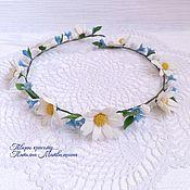 Украшения handmade. Livemaster - original item Wreath for hair Daisies and forget-me-nots. headband with flowers.. Handmade.