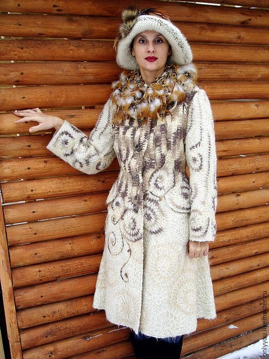 Верхняя одежда ручной работы. Ярмарка Мастеров - ручная работа. Купить Пальто вязаное «Легенды осени». Handmade. Бежевый