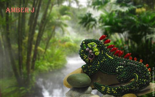 """Броши ручной работы. Ярмарка Мастеров - ручная работа. Купить Брошь """"Игуана"""". Handmade. Тёмно-зелёный, игуана, брошь"""