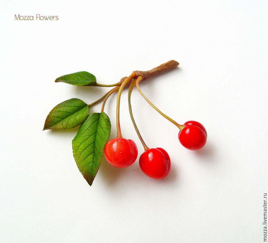 Brooch (pin) 'cherries' made of polymer clay, Brooches, Zarechny,  Фото №1