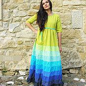 Одежда ручной работы. Ярмарка Мастеров - ручная работа Платье из льна «Лайм+индиго». Handmade.