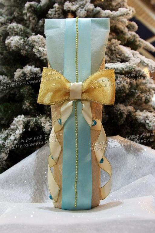 """Подарочная упаковка ручной работы. Ярмарка Мастеров - ручная работа. Купить """"С наступающим"""" - упаковка бутылки. Handmade. Упаковка подарка"""