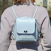 Сумки и аксессуары handmade. Livemaster - original item Backpack leather womens blue