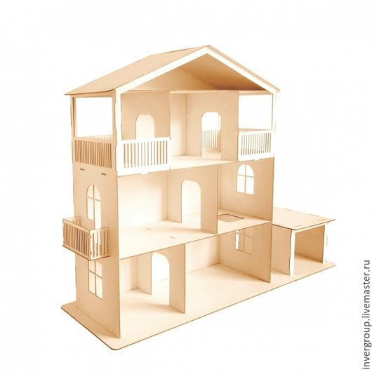 Кукольный дом ручной работы. Ярмарка Мастеров - ручная работа. Купить Кукольный дом с гаражом. Handmade. Бежевый, кукольный домик