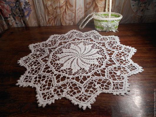 Текстиль, ковры ручной работы. Ярмарка Мастеров - ручная работа. Купить ажурная салфетка вязанная крючком. Handmade. Белый