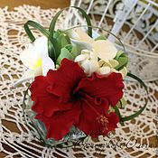 Цветы и флористика ручной работы. Ярмарка Мастеров - ручная работа Тропический мини-букет в стеклянной вазе. Handmade.