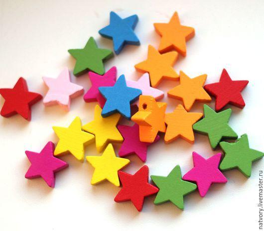 Для украшений ручной работы. Ярмарка Мастеров - ручная работа. Купить Бусины деревянные звездочки 15 мм разноцветные. Handmade.