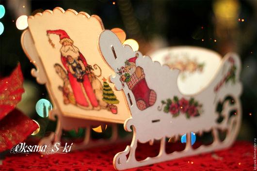 """Корзины, коробы ручной работы. Ярмарка Мастеров - ручная работа. Купить """"Сани  Новогодние"""". Handmade. Комбинированный, сани, лак"""
