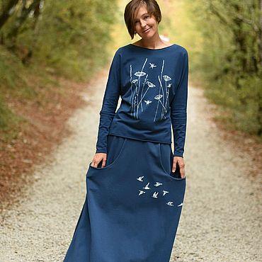 Одежда ручной работы. Ярмарка Мастеров - ручная работа Длинная трикотажная юбка с большими карманами индиго. Handmade.