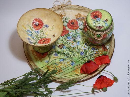 """Кухня ручной работы. Ярмарка Мастеров - ручная работа. Купить Набор для кухни """"Полевые цветы и маки"""". Handmade. Разноцветный"""