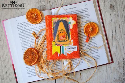 """Обложки ручной работы. Ярмарка Мастеров - ручная работа. Купить Обложка для паспорта """"Оранжевый кот"""". Handmade. Оранжевый, екатерина костюк"""