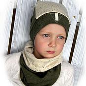Работы для детей, ручной работы. Ярмарка Мастеров - ручная работа Комплект для мальчика - шапка и снуд. Handmade.