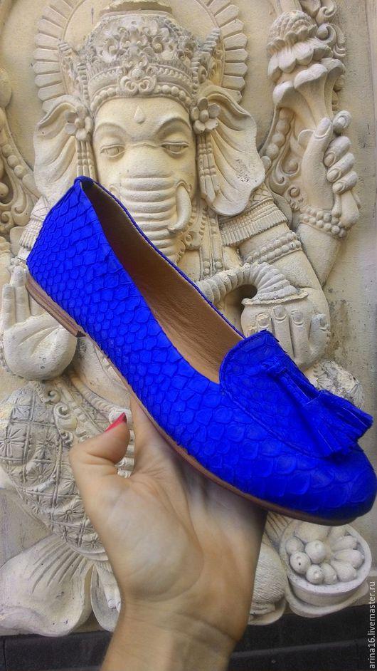Обувь ручной работы. Ярмарка Мастеров - ручная работа. Купить Лоуферы из кожи питона. Handmade. Синий, туфли из питона, обувь