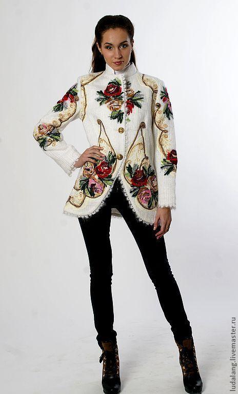 "Верхняя одежда ручной работы. Ярмарка Мастеров - ручная работа. Купить Куртка ""Гусарская Баллада"". Handmade. Белый, валяное пальто"