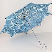 Аксессуары ручной работы. Ярмарка Мастеров - ручная работа Зонт-трость Листья голубой. Handmade.
